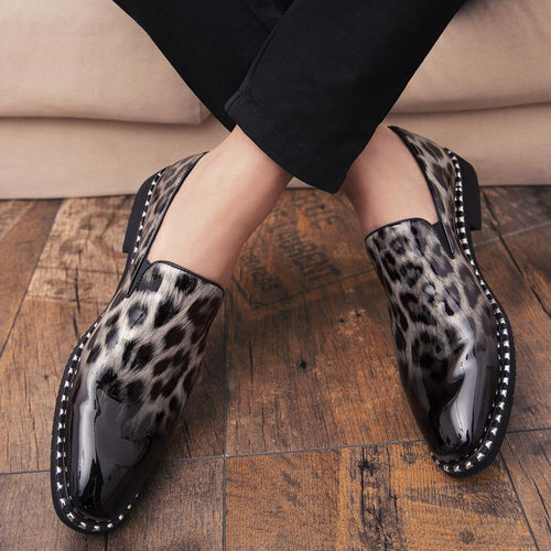 Fashion Casual Male Leopard Patent Leather Business Shoes