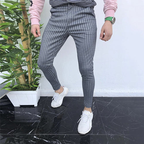 Stripe Thin Section Tight Fit Casual Pants