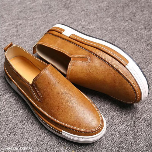 Fashion Youth Business Casual Plain Leather Mens Shoes