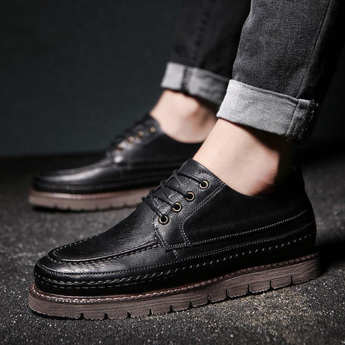 Casual Round Head Plain Vintage Leather Shoes