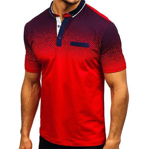 Men's Fashion Digital Print Lapel T-Shirt