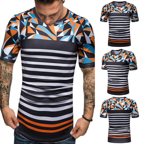 Casual Fashion Contrast Color Stripe T-Shirt