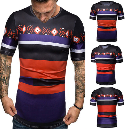 Men's Casual Loose Stripe Round Neck T-Shirt