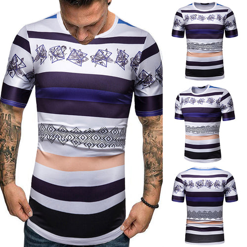 Men's Casual Stripe Printed Round Neck T-Shirt