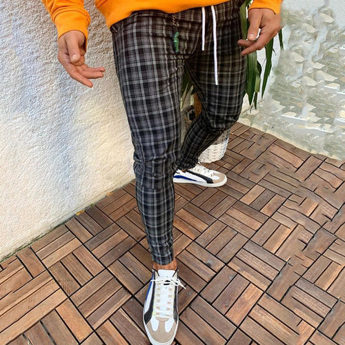 Street Check Belted Tight Fit Pants