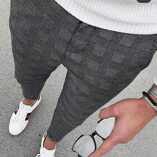 British Style Classic Check Slim Fit Pants