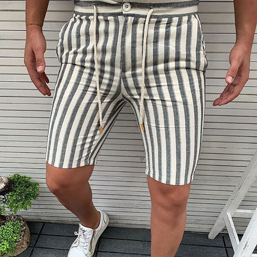 Casual Stripe Drawstring Straight Type Shorts