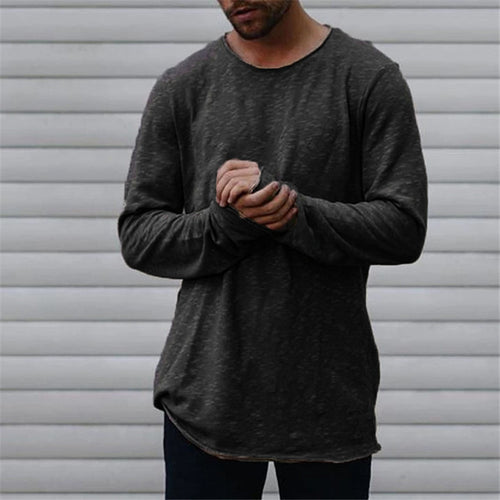 Men's Casual Basic Round Neck Long-Sleeved T-Shirt