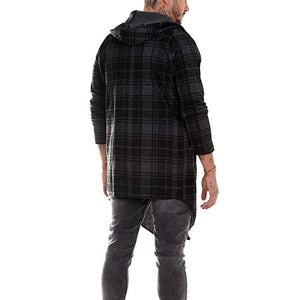 Casual Plaid Mid-Length Hooded Coat