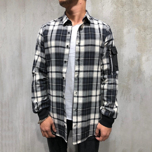 Individuality Loose Zipper Design Plaid Shirt