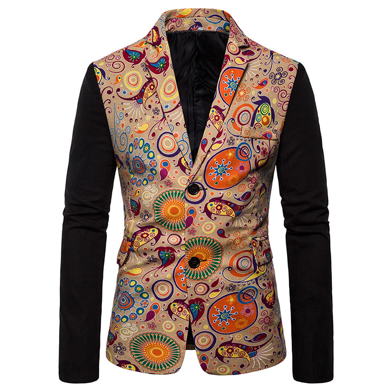 National Style Casual Slim Fit Printed Two Buckles Suit
