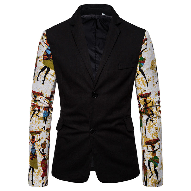 National Style Slim Fit Printed Suit