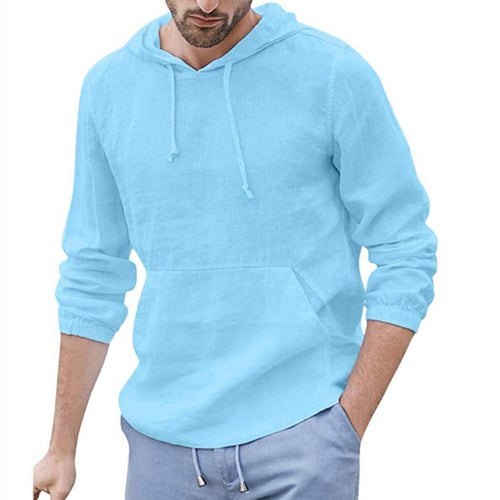 Casual Thin Section Pure Colour Hooded Shirt