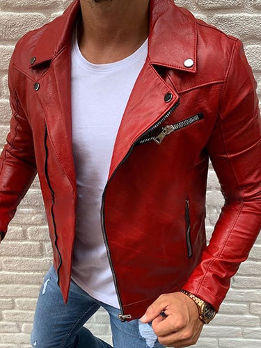 Fashion Handsome Lapel Zipper Design Leather Jacket