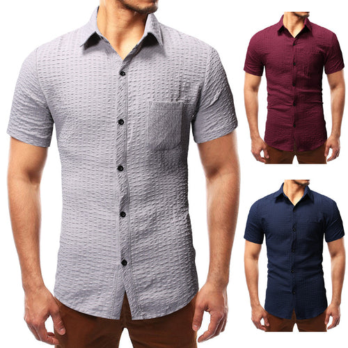 Fashion Casual Fold-Over Collar Check Printed Short-Sleeved Shirts