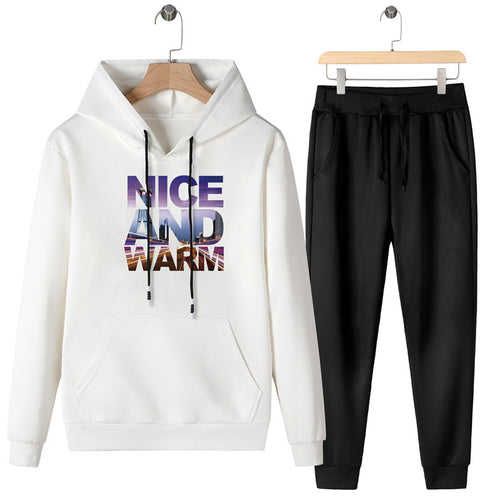 Fashion Letter Printed Hooded Sweater Pants Sports Bodysuits
