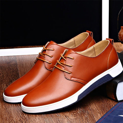 Men Large Size British Style Pure Color Leather Lace Up Casual Shoes