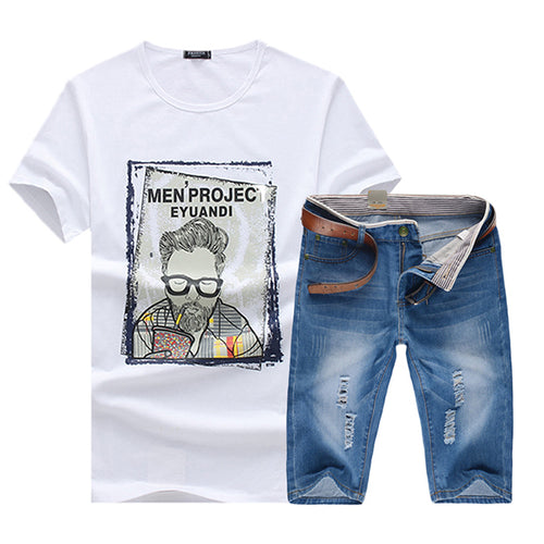 Summer Men's T-Shirt Denim Shorts Fashion Men's Set