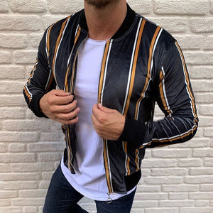 Fashion Contrast Color Stripe Short Jacket
