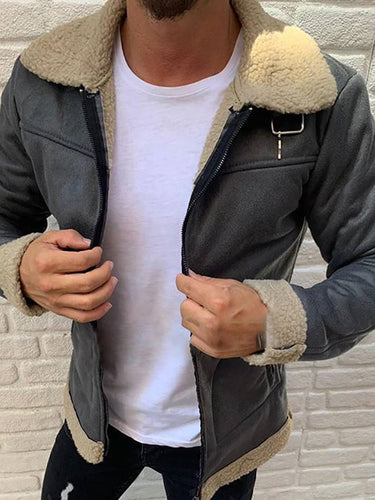 Fashion Fleece Lapel Leather Jacket