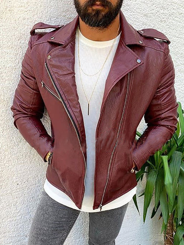Fashion Handsome Lapel Zipper Leather Jacket