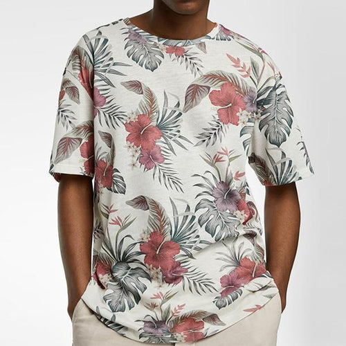 Minimalist Men's Fashion Floral Print Short Sleeve T-Shirt