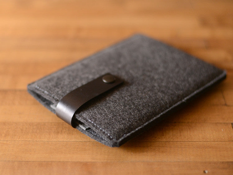 Kindle Paperwhite, Kindle Fire, Sleeve -  Charcoal Gray Felt & Black Leather Strap by byrd & belle