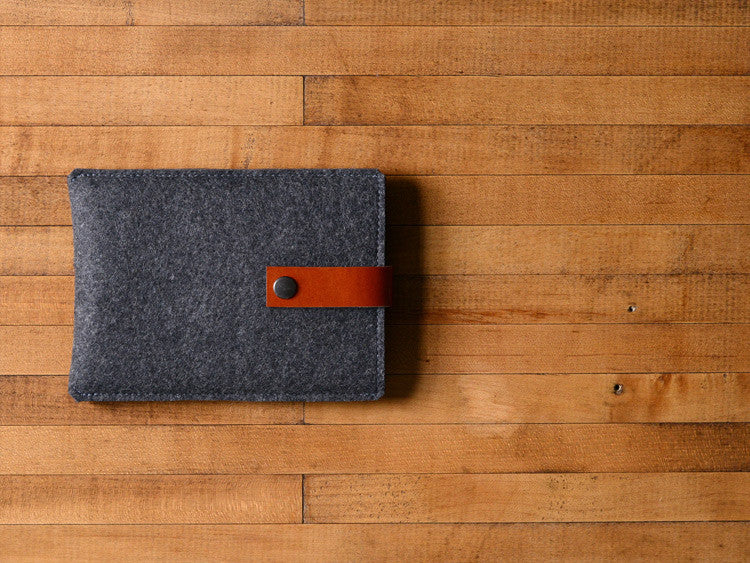 Kindle Sleeve - Charcoal Felt & Brown Leather Strap
