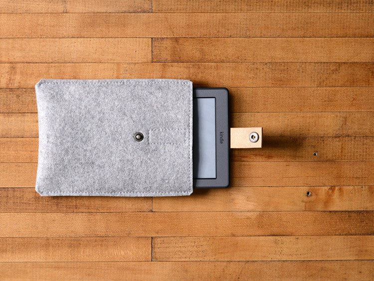Kindle Paperwhite, Kindle Fire, Sleeve -  Gray Felt & Brown Leather Strap by byrd & belle