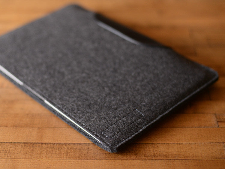 MacBook Air Sleeve - Charcoal Gray Felt & Black Leather Patch by byrd & belle