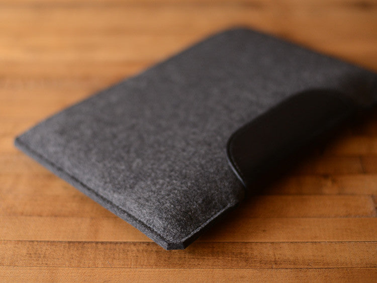 MacBook Air Sleeve - Charcoal Grey Wool Felt & Black Leather Patch by byrd & belle