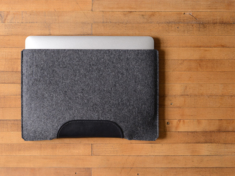 MacBook Air Sleeve - Charcoal Felt & Black Leather Patch by byrd & belle