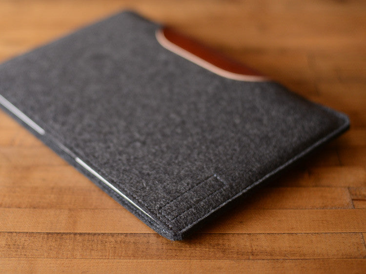 MacBook Air Sleeve - Charcoal Wool Felt & Brown Leather Patch