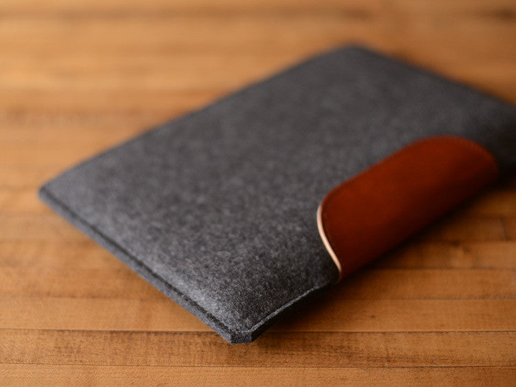MacBook Air Sleeve - Charcoal Grey Wool Felt & Brown Leather Patch