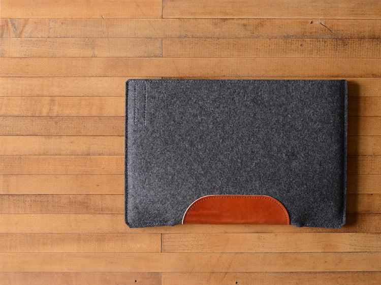 MacBook Air Sleeve - Charcoal Wool Felt & Brown Leather Patch by byrd & belle