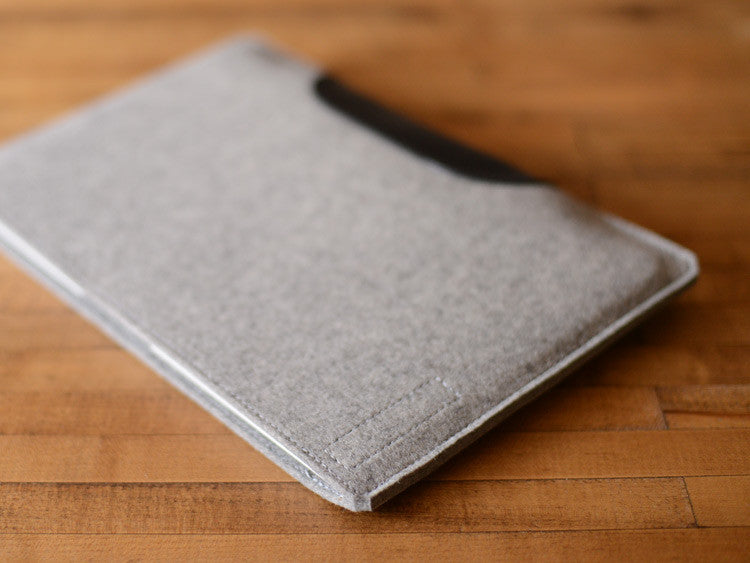 MacBook Air Sleeve - Grey Felt & Black Leather Patch by byrd & belle