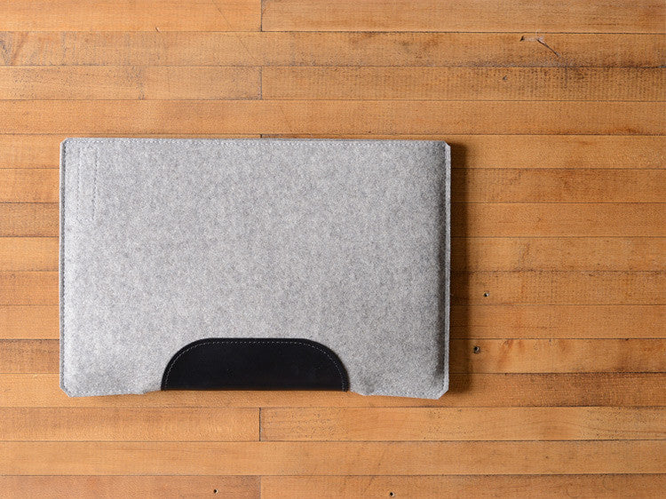MacBook Air Sleeve - Gray Felt & Black Leather Patch by byrd & belle