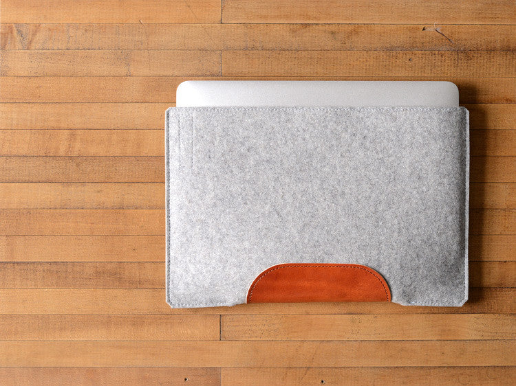 MacBook Air Sleeve - Grey Felt & Brown Leather Patch by byrd & belle