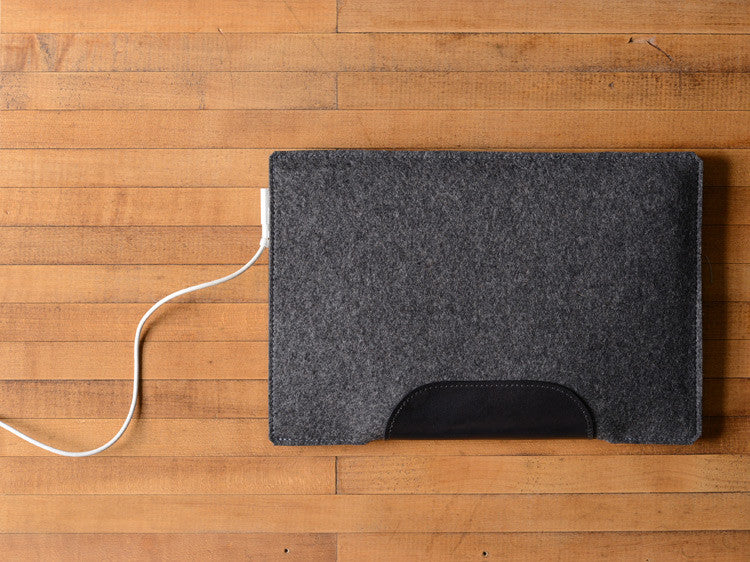 MacBook Air Sleeve - Charcoal Grey Felt & Black Leather Patch by byrd & belle