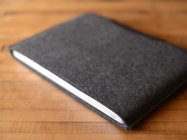 MacBook Pro Sleeve - Charcoal Felt & Black Leather Patch by byrd & belle