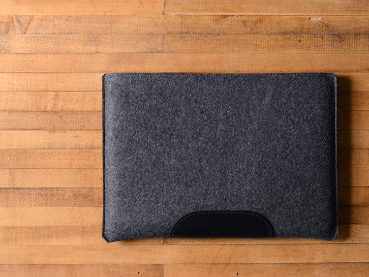 MacBook Pro Sleeve - Charcoal Grey Felt & Black Leather Patch by byrd & belle