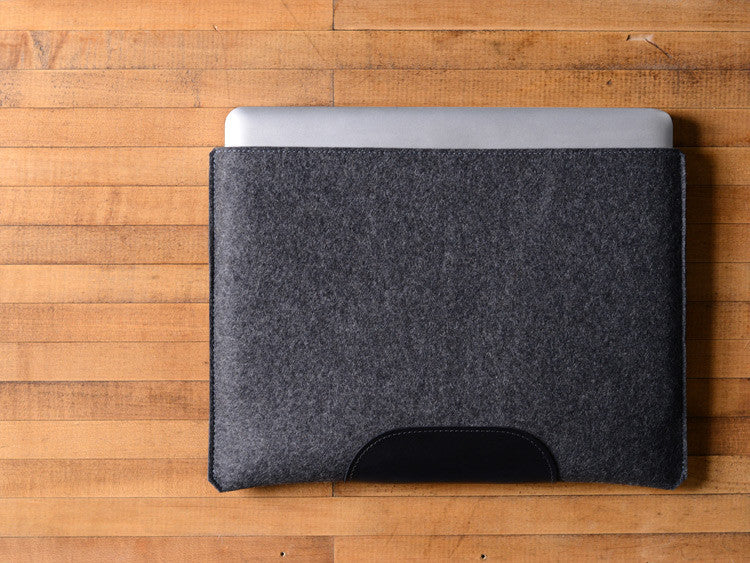 MacBook Pro Sleeve - Charcoal Gray Felt & Black Leather Patch by byrd & belle