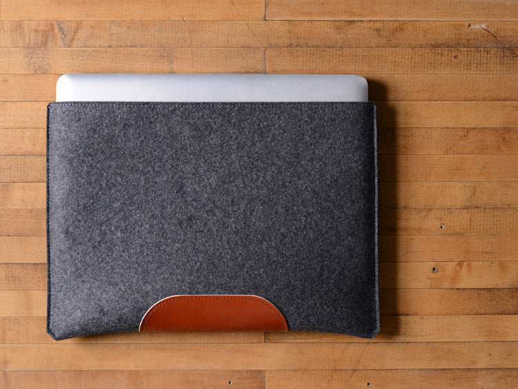 MacBook Pro Sleeve - Charcoal Felt & Brown Leather Patch by byrd & belle