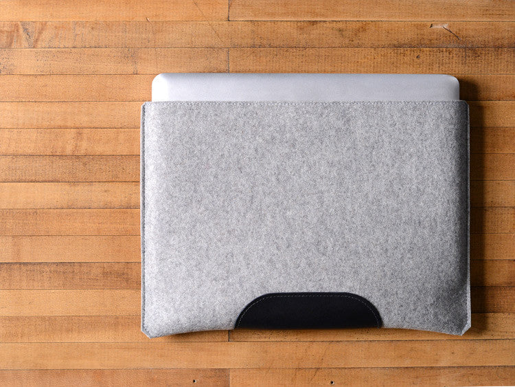 MacBook Pro Sleeve - Gray Felt & Black Leather Patch by byrd & belle