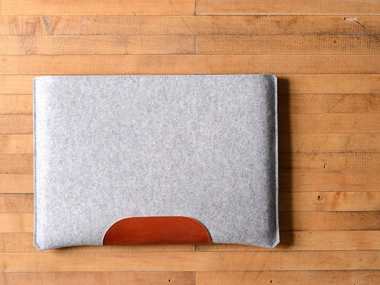 MacBook Pro Sleeve - Grey Felt & Brown Leather Patch by byrd & belle