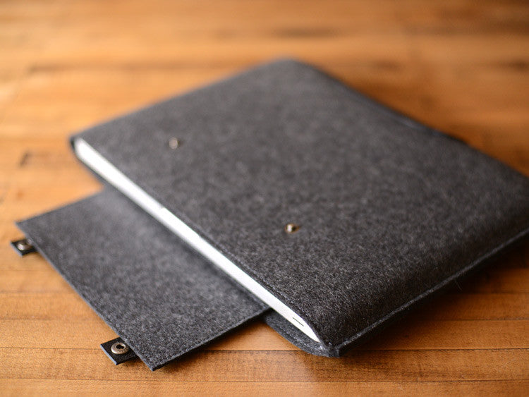 MacBook Pro Sleeve - Charcoal Gray Felt & Black Leather Patch, Straps by byrd & belle
