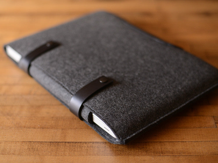 MacBook Pro Sleeve - Charcoal Grey Felt & Black Leather Patch, Straps by byrd & belle
