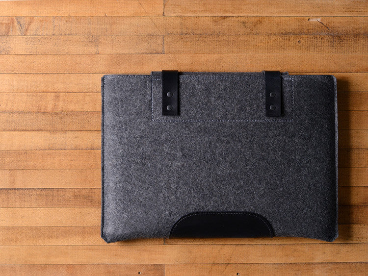 MacBook Pro Sleeve - Charcoal Felt & Black Leather Patch, Straps by byrd & belle