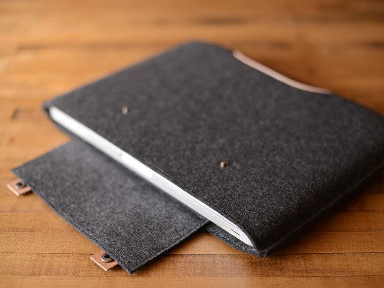 MacBook Pro Sleeve - Charcoal Felt & Brown Leather Patch, Straps