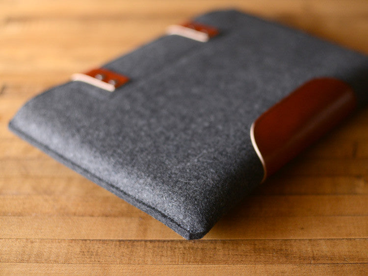 MacBook Pro Sleeve - Charcoal Wool Felt & Brown Leather Patch, Straps